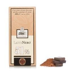 Tavoletta di Cioccolato al latte finissimo LatteNero 51% 100g