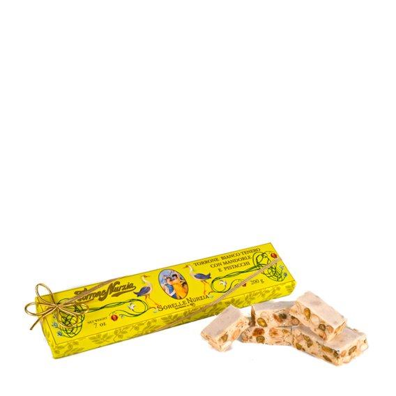 Torrone Bianco Tenero con Mandorle e Pistacchi  200g