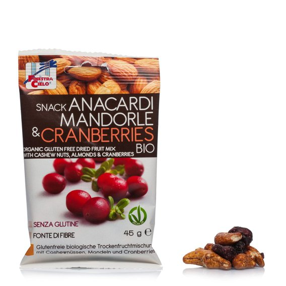 Snack Anacardi Mandorle e Cranberries Bio 45g