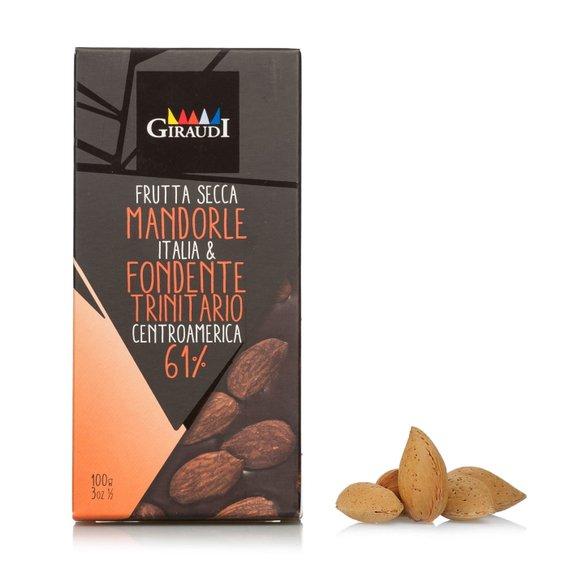 Tavoletta di Cioccolato Fondente 61% e Mandorle intere 100g