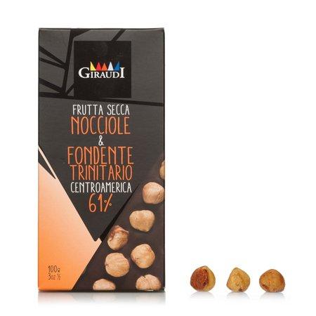 Tavoletta di Cioccolato Fondente al 61% e Nocciole intere 100g