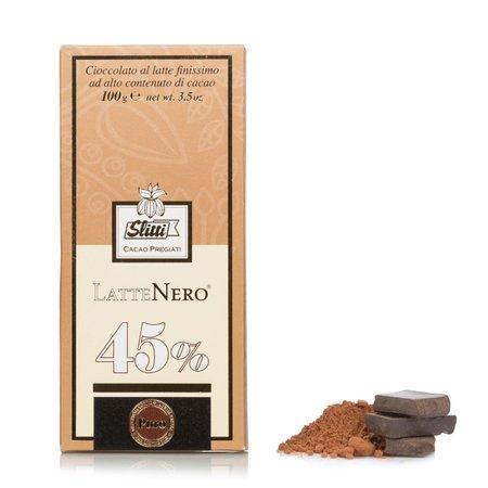 Tavoletta Cioccolato al latte finissimo 45% LatteNero 100g