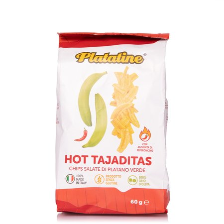 Hot Tajaditas Chips di Platano Verde Piccanti 60g