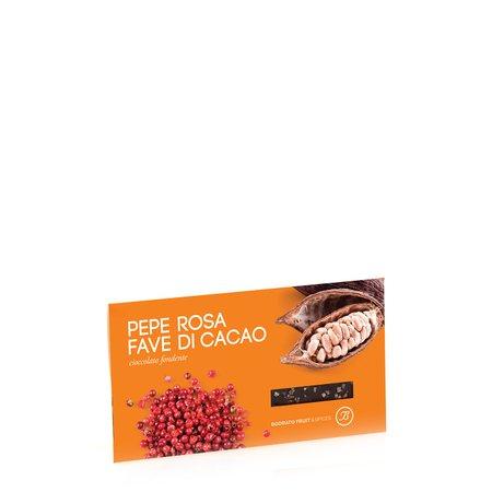 Tavoletta Fondente con Pepe Rosa e Fave di Cacao 50g