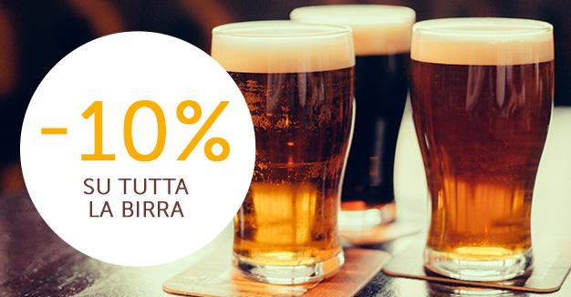 Promozione speciale: -10% su tutta la birra.
